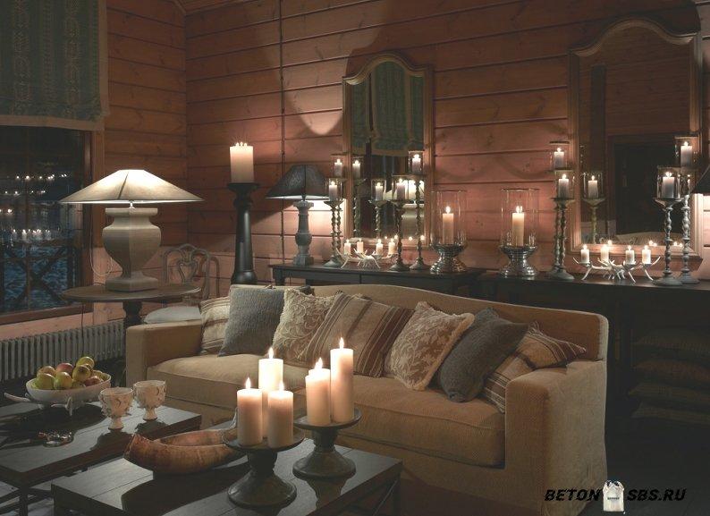 Блокхаус в интерьере дома отдыха в Подмосковье в фото