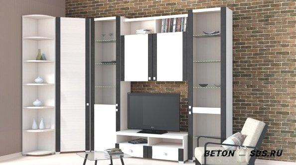 Модульная мебель для гостиной с угловым шкафом — красивый выход для экономии места